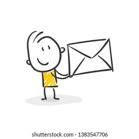 Smiling Business Stick Figure With Mail Vector
