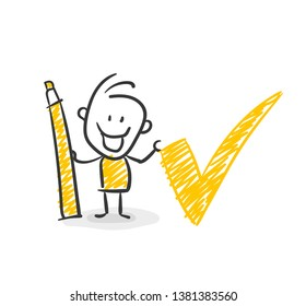 Smiling Business Stick Figure With Pencil Check Vector