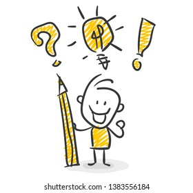Smiling Business Stick Figure With Pencil in Hand And Question Mark Lightbulb And Exclamation Mark Vector
