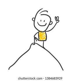 Smiling Business Stick Figure Is Reaching The Top Of A Mountain Vector