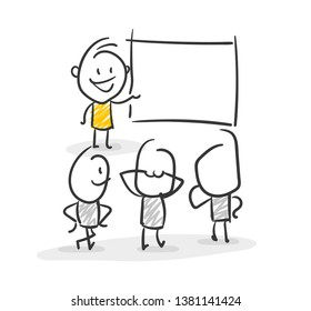 Smiling Business Stick Figure Teacher Do A Workshop Lesson Vector