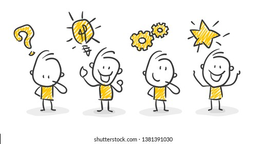 Smiling Business Stick Figures With Question Mark, Lightbulb, Gears and Star Concept Teamwork Vector