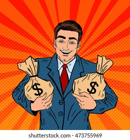 Smiling Businessman Holding Money Bags. Pop Art Vector illustration
