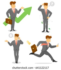 Smiling businessman isolated character set. Talking on phone, project presentation, standing and running. Man in business suit and tie in different gestures, poses and actions vector illustration.