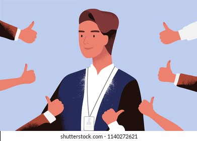 Smiling businessman or office worker surrounded by hands demonstrating thumbs up. Concept of professional acknowledgement, recognition, public approval and respect. Flat cartoon vector illustration