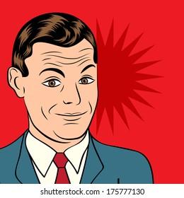 smiling businessman, pop art style illustration in vector format