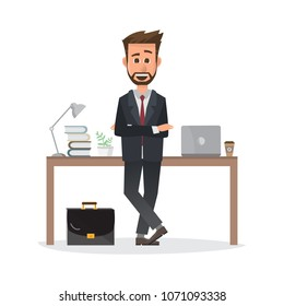 smiling businessman is standing and working on a laptop computer in his office. Business concept. vector illustration.