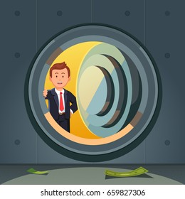 Smiling businessman in suit peeking through bank vault door. Dark & empty safe room with a few banknotes on the floor. Economic crisis or starting a business concept. Flat style vector illustration.