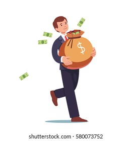 Smiling businessman walking & carrying big heavy sack full of cash money. Green banknotes flying out of bag with dollar sign on it. Flat style modern vector illustration isolated on white background.