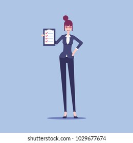 Smiling businesswoman holding a clipboard with a check list and marked items in it vector flat illustration.Happy woman clerk noted all the items in the check list.