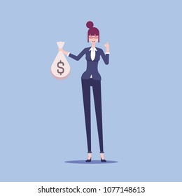 Smiling businesswoman stands with a full bag of money and shows thumb up vector flat illustration. Woman in formal wear hold sack of money in his hand.