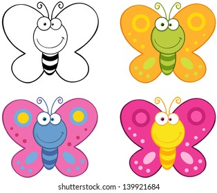 Smiling Butterflies Cartoon Mascot Characters. Vector Collection Set