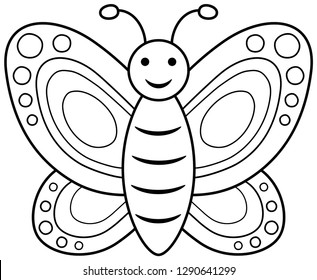 Smiling butterfly coloring book. Vector illustration.