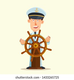 Smiling captain in the captain's hat on the head behind ship rudder. Leadership concept. Vector illustration, flat design, cartoon style.