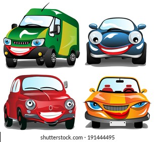 Smiling Car - 4 cartoons of Smiling Cars in 4 different colors