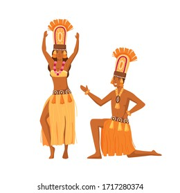 Smiling cartoon aboriginal man and woman dancing together vector flat illustration. Happy natives people in traditional tribal clothing isolated on white. African human in colorful costume