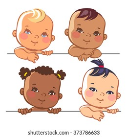 Smiling cartoon baby girls. Multinational baby portrait. Multi-ethnic set of four babies. Different nationalities. Toddlers holding  blank banner. Vector illustration for your product.