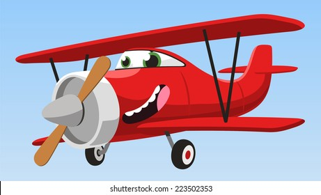 smiling cartoon biplane airplane flying in the sky vector illustration