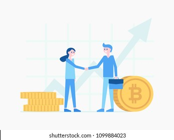 Smiling cartoon boy and girl making good deal vector illustration. Ways of increasing income by selling or buying bitcoin. Modern payment system concept. Flat style design