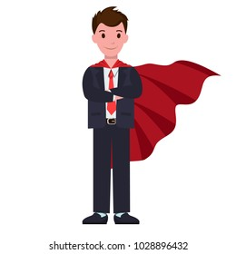 Smiling cartoon character in classic suit, with red cloak outdoor overgarment, that hangs loosely from shoulders vector illustration isolated on white