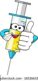 Lächelnder Cartoon-Charakter-Maskottchen-Impfstoff für medizinische Spritze Auftakt Vektorgrafik einzeln