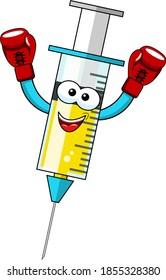Lächelnde Cartoon-Charakter-Maskottchen-Impfstoff-Sieger-Konzept Vektorgrafik einzeln