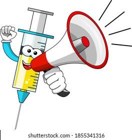 Lächelnde Cartoon-Charakter-Maskottchen-Medizinspritze Impfstoff Megaphon Ankündigung Vektorgrafik einzeln