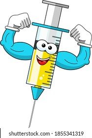 Smiling cartoon character mascot medical syringe vaccine showing biceps strength vector illustration isolated