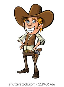 Smiling cartoon cowboy isolated on white