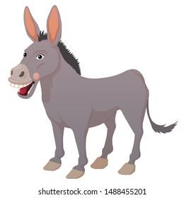Smiling cartoon donkey isolated on white background.