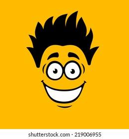 Smiling Cartoon Face on Orange Background. Vector illustration