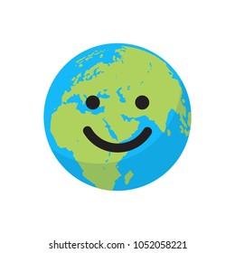 Smiling cartoon flat globe. Save the planet concept. Happy Earth day. Happy cute funny Earth emoji.  Web icon design. Vector illustration isolated on white background.