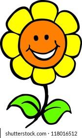 smiling cartoon flower. vector illustration