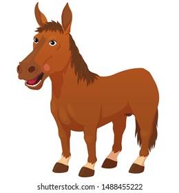 Smiling cartoon horse isolated on white background.