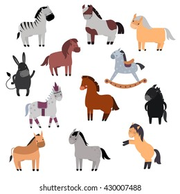 Smiling cartoon horses on white background and cartoon horse vector set