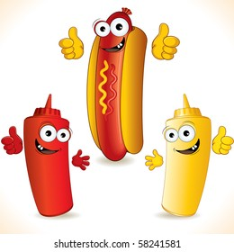 Smiling cartoon Hot dog with Funny friends - vector clip art