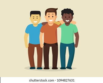 Smiling cartoon multinational men flat vector illustration. Three cheerful boys standing are hugging each other. Concept of friendship