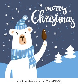 Smiling cartoon polar Bear with chocolate ice cream. Vector illustration with cute hand-drawn character and Merry Christmas inscription.