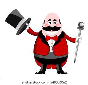Smiling cartoon ringmaster in tuxedo holding hat and stick isolated