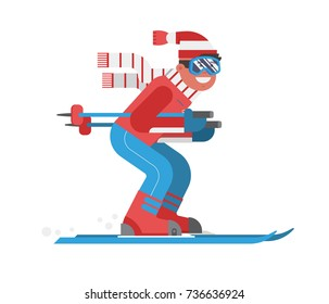 Smiling cartoon skier in motion isolated on white background. Mountain skiing sportsman character with goggles and ski suit. Young man on skis vector illustration.