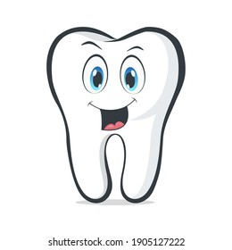 Smiling cartoon tooth. Healthy tooth with smiling face. Cartoon emoticon face with a smiling expression. Oral dental hygiene. Funny emoticon mascot icon. Vector illustration