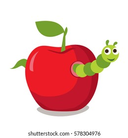 Smiling cartoon worm in the apple
