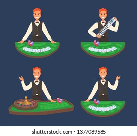 A smiling casino dealer stands in front of a blackjack table, roulette. Male worker in elegant clothes: vest, bowtie. Casino employee shuffles the cards. Illustration on a dark colored background.