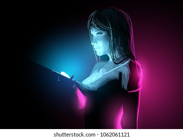 A smiling casual young women checking a message on her phone at night. Vector illustration