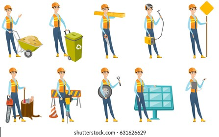 Smiling caucasian carpenter holding saw and wooden board. Full length of young cheerful carpenter with hand saw and wooden board. Set of vector flat design illustrations isolated on white background.