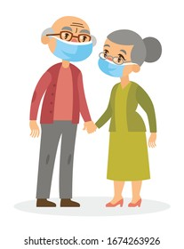 Smiling caucasian old couple  (grandparents) wearing protective medical face masks isolated on white background.