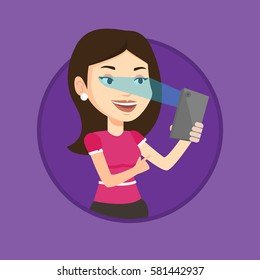 Smiling caucasian woman using smart mobile phone with retina scanner. Young woman using iris scanner to unlock her mobile phone. Vector flat design illustration in the circle isolated on background.