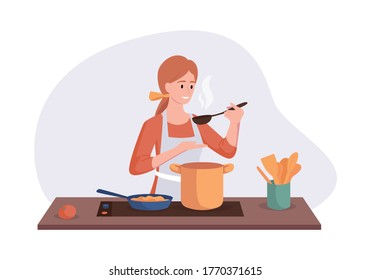 Smiling chef cooking on kitchen table. Wife cooked soup and tastes it with a spoon. Vector illustration home concept preparing homemade meals for dinner.