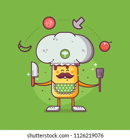 Smiling chief cooker champignon character in chef hat with mustache juggling ingredients. Happy champignon mushroom mascot in flat design.
