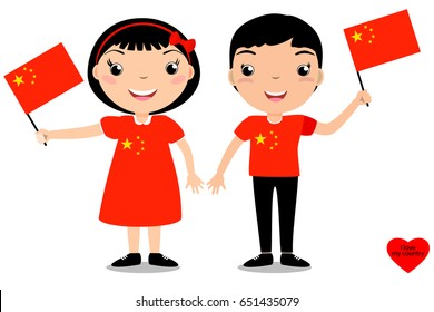 Smiling children, boy and girl, holding a China flag isolated on white background. Vector cartoon mascot. Holiday illustration to the Day of the country, Independence Day, Flag Day.